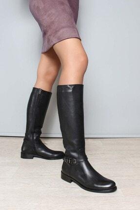 Fast Step Hakiki Deri Siyah Kadın Klasik Çizme 946sza8206