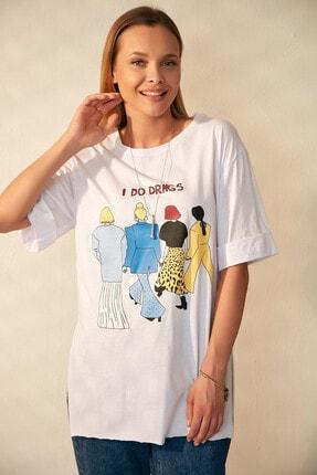 Morpile Yırtmaçlı Boyfriend Tshirt