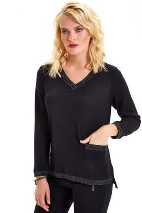 İkiler Kadın Siyah Yakası Eteği Ve Kolları Simli Triko Bantlı Bluz 201-1717