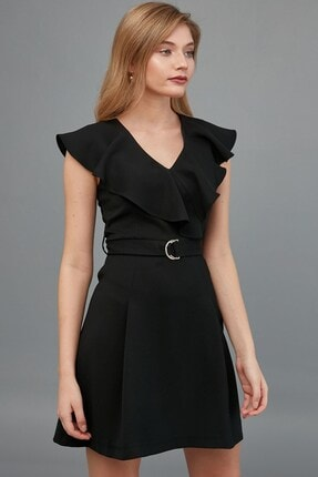 Journey Elbise V Yaka- Yaka Kenarı Volan Detaylı, Bel Kuşak Kombinli