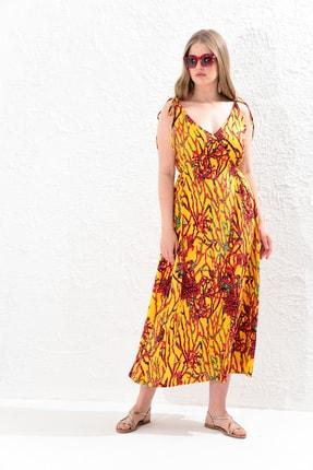 Big Free Bayan Ip Askılı V Yaka Desenli Elbise