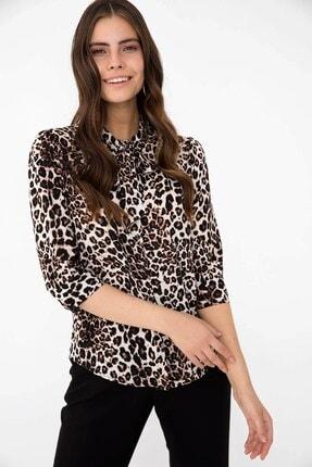 Chima Kadın Kahverengi Fularlı Leopar Gömlek
