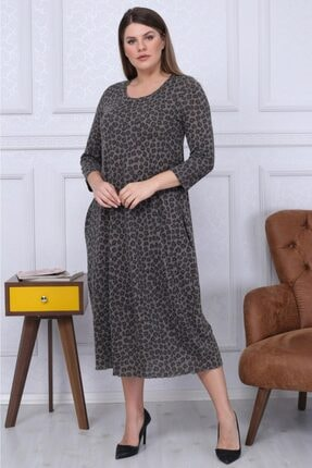 Big Free Kadın Leopar Desenli Yarım Kol Elbise