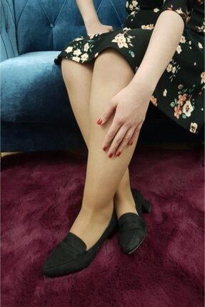 TREND Kadın Siyah Süet Topuklu Babet Ayakkabı Ox03