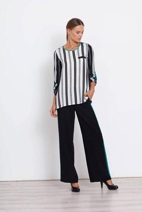 Moda İlgi Kadın  Çizgili Eva Ekru Bluz