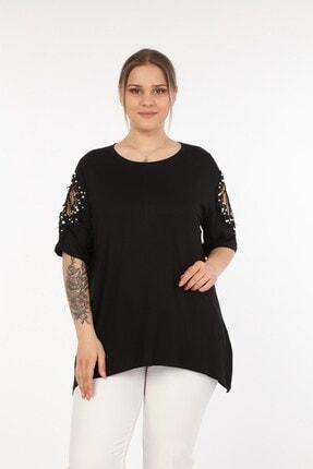 Womenice Kadın Siyah Omuzları Dantel Taşlı Büyük Beden Bluz