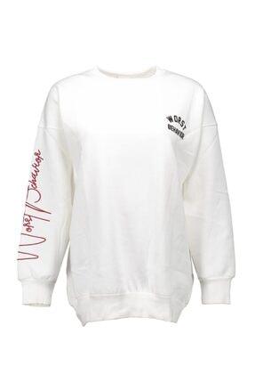 Collezione Kadın Ekru Baskılı Sweatshirt