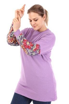 Big Free Kadın Lila Kol Tül Çiçek Nakışlı Sweatshirt Tb21kb051013