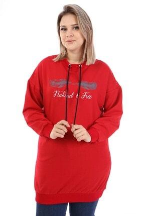 Big Free Kadın Kırmızı Kuş Tüyü Baskılı Sweatshirt Tb21kb051011