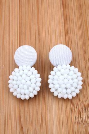 Pelin Aksesuar Unisex Beyaz Kristalli Tasarım Düğme Küpe
