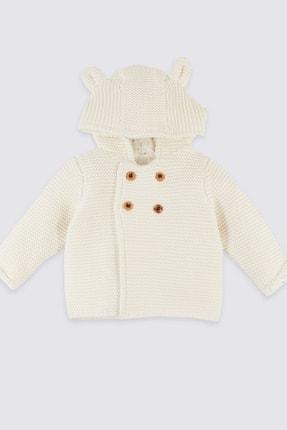 Marks & Spencer Unisex Bebek Krem  Saf Pamuklu Kapüşonlu Örme Hırka
