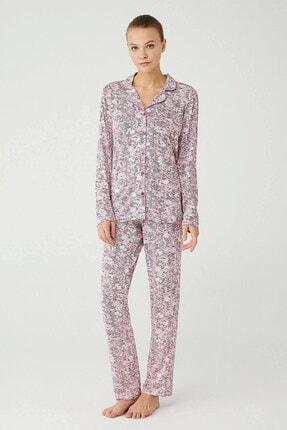 Mod Collection Kadın Gül Kurusu Boydan Patlı Pijama Takımı