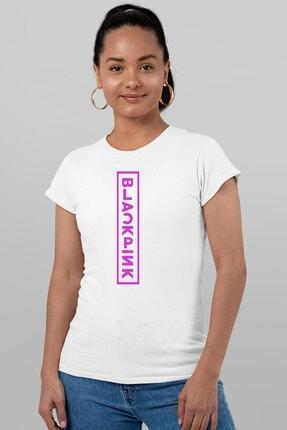 Rock & Roll34 Kadın Beyaz Pembe Ön Arka Baskılı Kısa Kollu T-shirt