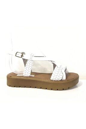 Punto Kadın Beyaz Hakiki Deri Sandalet