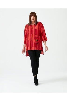 Seçil Kadın Kırmızı Büyük Beden Desenli Bluz