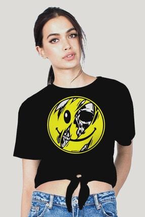 Rock & Roll34 Kadın Siyah İçim Dışım Kesik Crop Top Bağlı T-Shirt