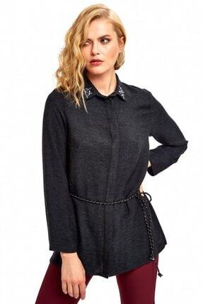 İkiler Kadın Gri Yakası Nakışlı Uzun Kol Gömlek 190-3032