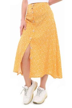 Cazador Cdr 4135 Çiçekli Düğmeli Etek Sarı