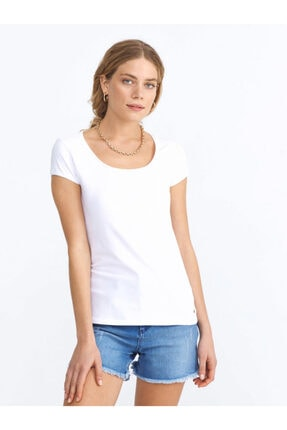XINT Xınt U Yaka Pamuklu Rahat Kesim Basic Tişört