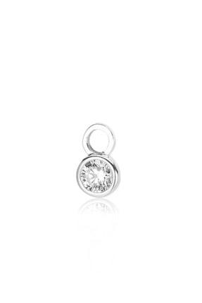 Valori Jewels Yuvarlak Kesim, Swarovski Zirkon Beyaz Yuvarlak Taşlı, Gümüş Küpe Charmı