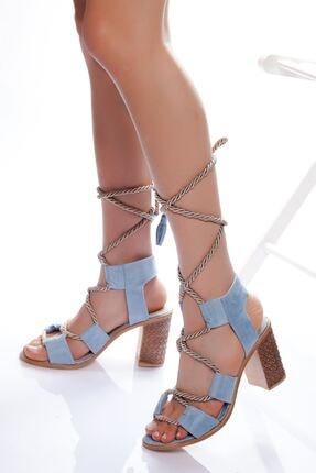 derithy -klasik Topuklu Ayakkabı-mavi Süet