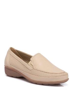 Tergan Bej Deri Kadın Ayakkabı 64291a25