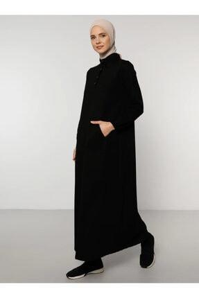 Everyday Basic Kadın Siyah Kanguru Cepli Elbise 1766957