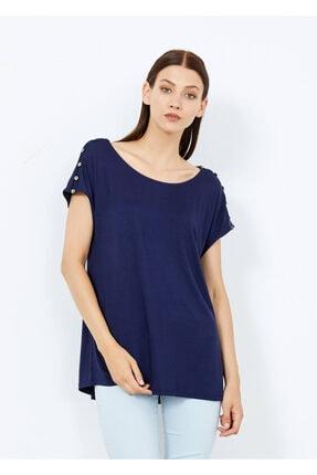 Cazador Kadın Lacivert Omuz Düğmeli Basic Tişört