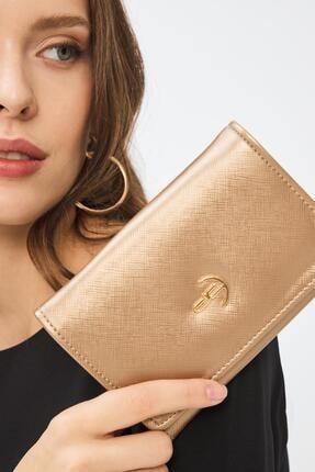 Deri Company Kadın Basic Cüzdan Düz Desenli Logolu Altın (8035a) 213001