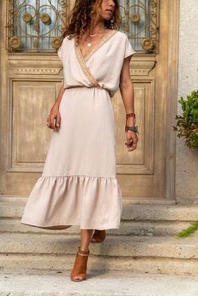 Güneşkızı Kadın Bej Hasır Işlemeli Eteği Fırfırlı Uzun Elbise Gk-bst2556