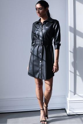 Ayhan Kemerli Bayan Deri Elbise - 61362 Siyah