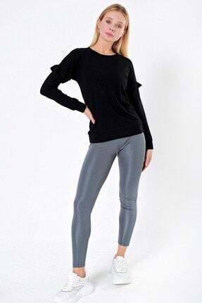 Jument Kadın Triko Sıfır Yaka Kolu Fırfır Detaylı Bluz-siyah