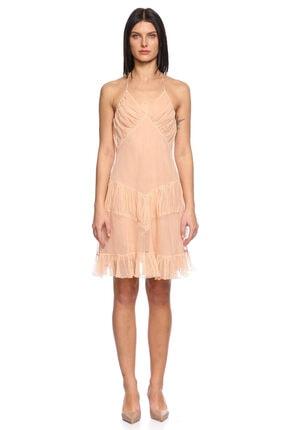 Just Cavalli Fırfır Detaylı Mini Mercan Elbise