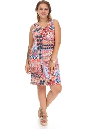 Big Free Bayan Sıfır Kol Etnik Desen Elbise