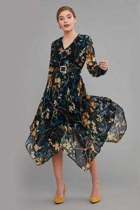 Journey Elbise Kruvaze Yaka- Deri Kemer Detaylı, Etek Altı Asimetrik, Uzun Şifon