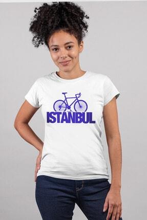 Rock & Roll34 Kadın Beyaz Istanbul Bisiklet Kısa Kollu T-shirt