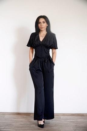 Lila Rose Kadın Siyah Düğmeli Saten Bluz