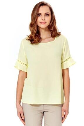 İkiler Kadın Açık Fıstık Yeşil Kolları Volanlı Dantel Garnili Bluz 018-4012