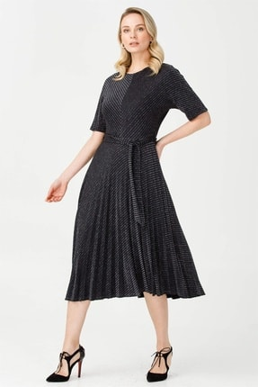 Moda İlgi Kadın Siyah Pilisoley Simli Elbise