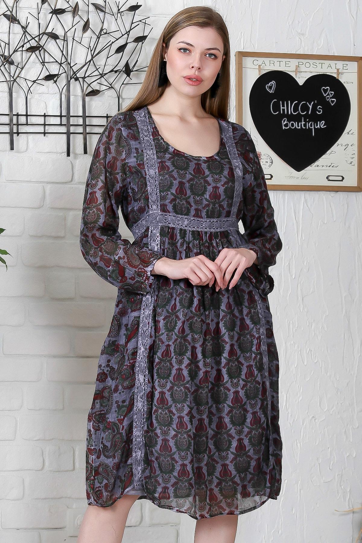 Chiccy Kadın Füme U Yaka Lale Desenli Kopanaki Detaylı Astarlı Yıkamalı Uzun Kol Elbise M10160000EL95265