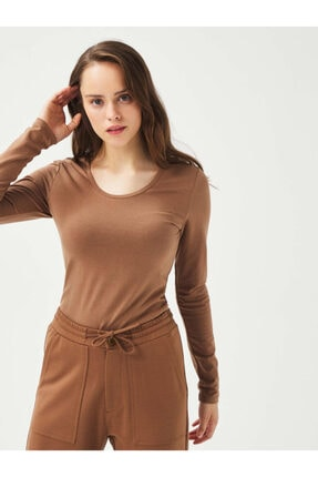 XINT Xınt U Yaka Pamuklu Rahat Kesim Basic Uzun Kollu Tişört