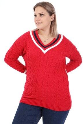 Big Free Kadın Kırmızı Saç Örgüsü V Yaka Kazak Tb21kb373266