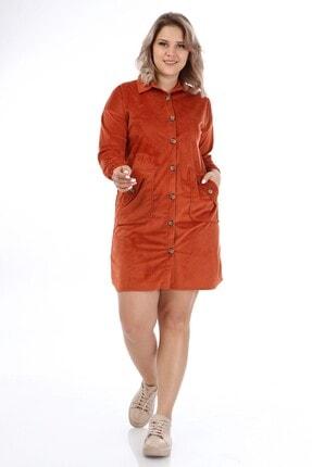 Big Free Kadın Kiremit Kadife Cepli Gömlek Yaka Elbise Tb21kb111453