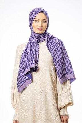 Versace Kadın Lila Mor Jakarlı Modal Şal 75x200 cm