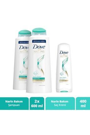 Dove Narin Bakım Şampuan 600 ml X 2 + Narin Bakım Saç Bakım Kremi 400 ml