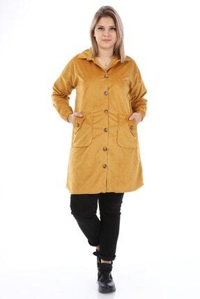 Big Free Kadın Hardal Kadife Cepli Gömlek Yaka Elbise Tb21kb111453