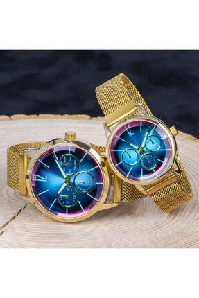 Spectrum Unisex Renkli Cam Mıknatıslı Kordon Sevgiliye Hediye Çift Saat Seti St-303787