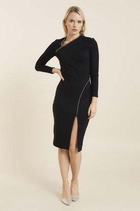 Hanna's Yakası Ve Yırtmaçı Metal Taş Işlemeli Örme Elbise