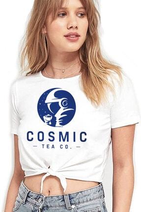 Rock & Roll34 Kadın Beyaz Kozmik Çay Kesik Crop Top Bağlı T-shirt