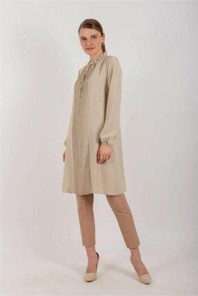 Loreen Pileli Uzun Tunik Taş Renk 10550